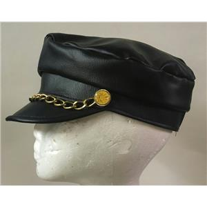 Small Motorcycle Biker 100% Man Made Leather Costume Hat with Gold Chain Detail