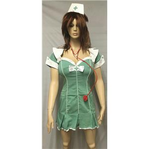 Seafoam Green 4Pc Hospital Scrubs Nurse Sexy Women's Adult Costume Size Large