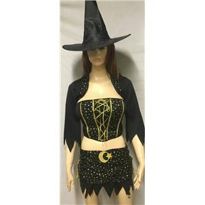 Women's 4Pc Ultra Sexy Mystical Witch Moon and Stars Adult Costume Medium 8-10