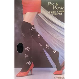 Ric & Rose Skulls and Crossbones Gothic Over Knee High Tights Stockings Socks