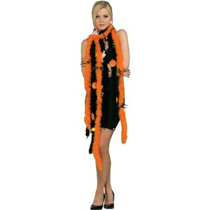Halloween Feather Boa Orange with Black Bats