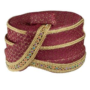 Burgundy Royal Hat Gold Trim and Multi Color Gems Renaissance Costume Accessory