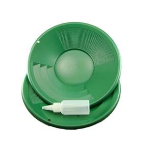 "Lot of 2-12"" Green Gold Pans w/ Bottle Snuffer-Panning Kit-Prospecting-Mining"