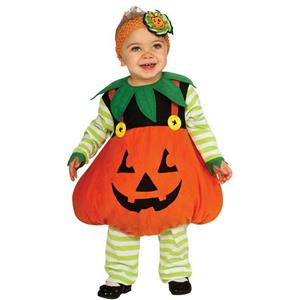 Girl's Cute Pumpkin Ez-On Romper Jack-o-Lantern Costume 6-12 Months
