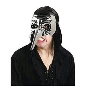 Fun World Silver Chrome Venetian Raven Mask