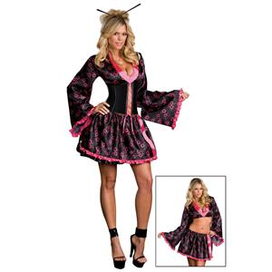Dreamgirl Women's Sexy Tokyo Treasure Pink And Black Geisha Adult Costume Medium