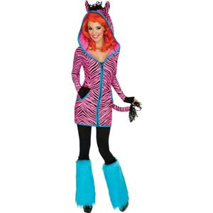 Women's Sexy Bright Pink and Black Zebra Hoodie Dress Adult Costume Large