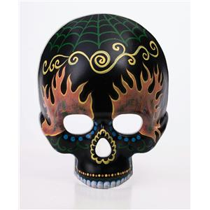Black Half Skeleton Day of the Dead Skull Mask with Designs