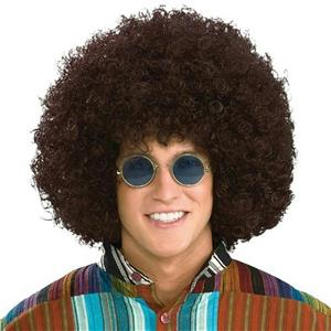 Jumbo Giant Brown Curly Afro Hippie 60's 70's Generation Costume Wig for Adults