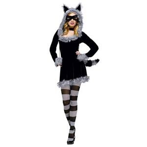 Women's Sexy Fantasy Deluxe Racy Raccoon Adult Costume S/M 2-8