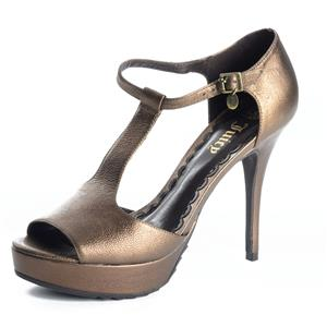 7.5 Juicy Couture Mischa T Strap Heeled Leather Platform Sandals Shoe Bronze