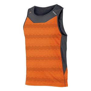 2XU Men's Ice X Singlet Running Top - Orange / Grey - Men's Medium