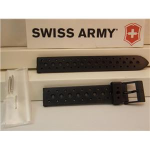 Swiss Army Watch Band Renegade Ladies 15mm Black Rubber/Resin Sport Band Strap