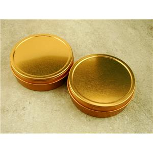Set of 2 Gold 3In Round Sample Tins, Screw On Lid, Metal, Specimen Container