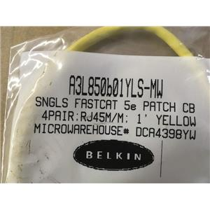 Belkin A3L850b01YLS-MW CAT 5E 1ft Patch Cable