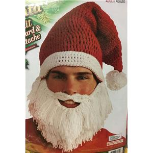 Santa Claus Knit Hat with Attached Beard and Mustache Fun Christmas Accessory