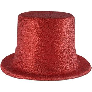 Beistle Plastic Red Glitter Coated Top Hat