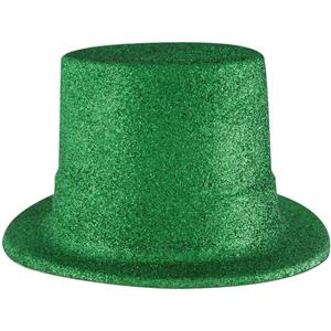 Beistle Plastic Green Glitter Coated Top Hat