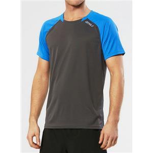 Men's 2XU Tech Vent 2 Short Sleeve Top Medium Blue/Charcoal