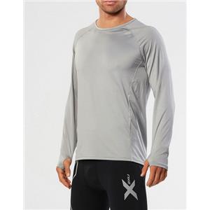 2XU Men's Hyoptik Long Sleeve Top Silver Grey Medium