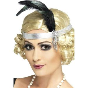 Silver Satin Charleston Flapper Headband with Feather and Jewel