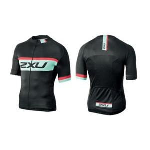 Men's 2XU Custom Aero 2 Cycling Jersey - Black / Green - Medium