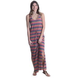 Sz M C&C California Multi-Stripe Burnout Jersey Maxi Dress Drawstring Waist Slit