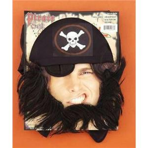 Pirate Eye Patch Beard and Bandanna Headpiece Costume Set Accessory Kit