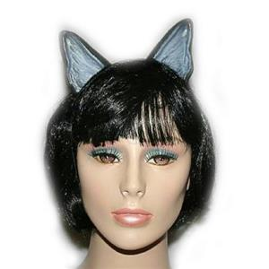 Plastic Black Gray Cat Animal Ears on Elastic Band Costume Accessory