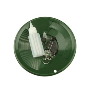 """Green 6 Pc Gold Panning Clean up Kit-Snuffer-Tweezers-2Vials-1-8"""" Gold Pan-Loupe"""