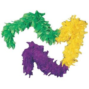 Tri-Color Green Yellow Purple Mardi Gras Turkey Feather Boa Costume Accessory
