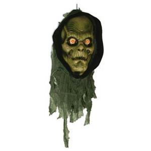 Plastic Green Zombie Head with Light Up Eyes Monster Head Halloween Prop