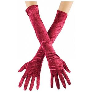 Fun World Long Velvet Burgundy Red Adult Gloves Costume Accessory