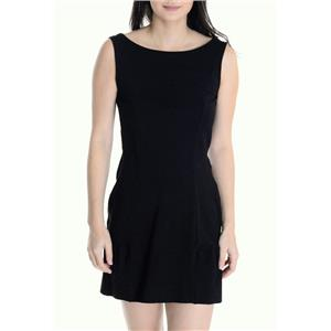 Sz P Juicy Couture Black Bow Back Ponte High Neck V-Back Sleeveless Mini Dress