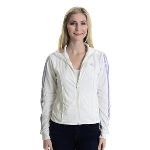 M Adidas White/Purple Mesh Striped Long Sleeve Full Zip Ribbed Neck Track Jacket