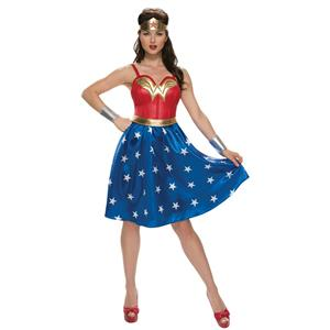Rubies Women's Adult Deluxe Retro Long Dress Wonder Woman Costume Large 10-14