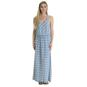 M New Michael Stars Perforated Racerback Jersey Maxi Dress Pacific Blue Stripe