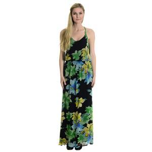 Sz M Ella Moss Hibiscus Print Silk V-Neck Racerback Maxi Dress Lined in Jersey