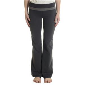 6 Lululemon Gray Herringbone Wide Bootleg Workout Yoga Pants w/ Contrast Waist