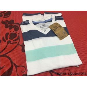 ROEBUCK & CO  Young Men's Short Sleeve Striped V Neck T-Shirt Size Small w/ Tags