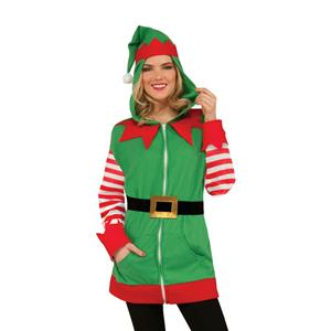 North Pole Christmas Elf Hoodie Santa's Helper Jacket Unisex Adult Size