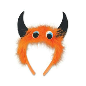 Beistle Orange Furry Fuzzy Monster Eyeballs Headband with Horns