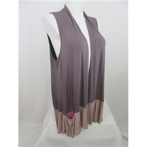 LOGO by Lori Goldstein Size 1X Taupe Color-Block Vest with Contrast Pocket