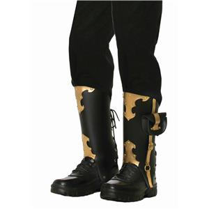 Black with Gold Detail Deluxe Pirate Boot Covers Costume Accessory