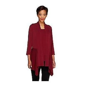 Susan Graver Size S Burgundy Liquid Knit Cascading Front Cardigan & Tank Set