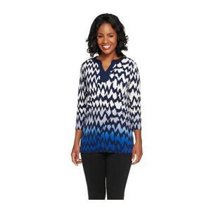 Susan Graver Size XXS Liquid Knit 3/4 Sleeve Chevron Print Ombre Tunic in Blue