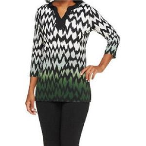 Susan Graver Size XXS Liquid Knit 3/4 Sleeve Chevron Print Ombre Tunic in Green