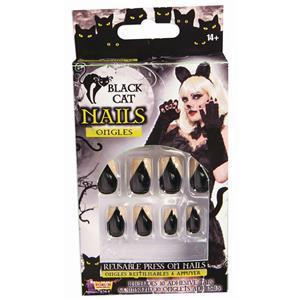 Fake Black Cat Reusable Press on Nails Fingernails
