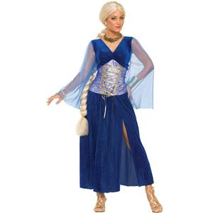 Game of Thrones Women's Long Medieval Sapphire Dress Adult Costume Standard Size