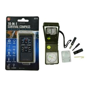 10 in 1 Camping/ Survival Tool-Compass-Fire Starter-Mirror-Thermometer-LED Light